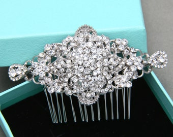 Bridal Hair Comb, Wedding Hair Comb, Rhombus Rhinestone Crystal Hair Comb, Rhombus Vintage Style Hair Comb, Alligator Clip, Barrette Clip