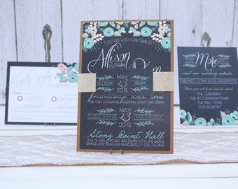 "Mint Floral Wedding Invitation Set – Vintage Wedding Invitations – Mint Invitations – Gray and Mint Wedding Invite – ""Mint Merriment"" Sample"