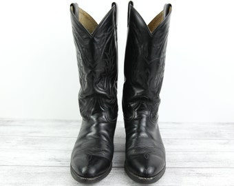 Vintage Black Western Boots by Tony Lama, (size 8 1/2 EE Men's, size 9 1/2 D Women's)