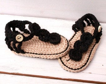 Crochet Baby Sandals, Black Baby Booties