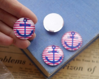 """3pc LARGE Striped Anchor Nautical Glass Cabochon Embellishment 25mm 1""""  Blue Red White (GCB2368)"""