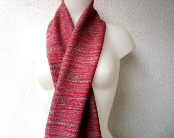 Handwoven Scarf, Red Multicolored Scarf Handwoven , Silk,Cotton,  Handmade by Me, Unique