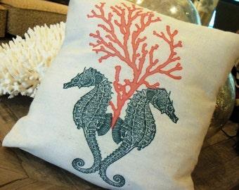 Seahorse & Coral Pillow, 12x12 inch,coral, beach, seashore, nautical, summer, coastal, D