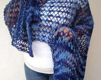 Streep Blue Lace Wrap Hand Knitted Stole Woman Trendy Shoulder Wrap  Cotton Tape Summer Scarf NEW