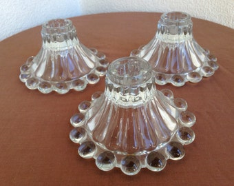Vintage 1960 Hazel-Atlas Glass  bead glass candleholders set 3