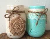 Set of 10-Painted Mason Jars w/ Twine, Lace & Burlap- 2 Designs Available-Wedding Centerpiece/Flower Vase/Candle Holder--Rustic-Country