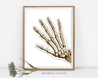 HAND BONES - digital download - printable antique anatomy illustration retooled by Anamnesis for prints, tags, totes, shirts etc.