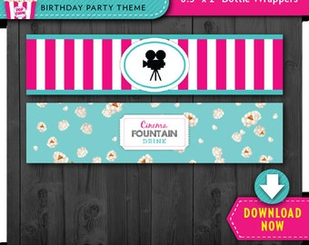 Movie Water Bottle Labels | Wrappers | Printable Birthday Party Decorations | Instant Download