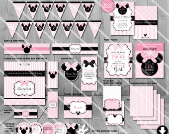 Minnie Mouse Baby Shower Decorations, Printable