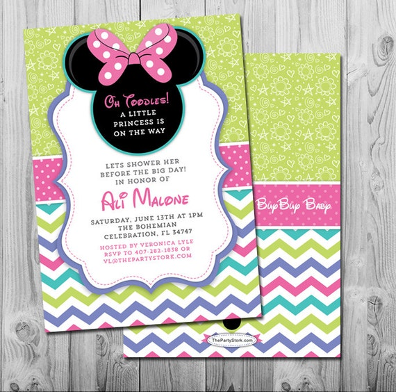 minnie mouse baby shower invitation printable girl invite pink