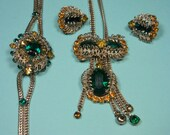 50s Art Deco Vintage Jewelry Set, Gorgeous Green, Ornate Filigree Leaves, Elegant Classic