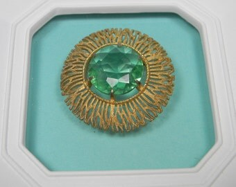 Modern Green Brooch, Glass and Gold Tone, Vintage