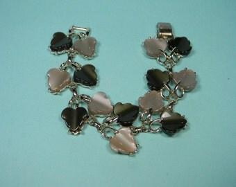 Coro Thermoset Dark Chocolate and Taupe Bracelet, Leaves, Vintage, Pegasus Signature
