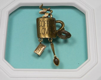 80s JJ Coffee Lovers Brooch or Pin, Bronze Tone Metal, Signed