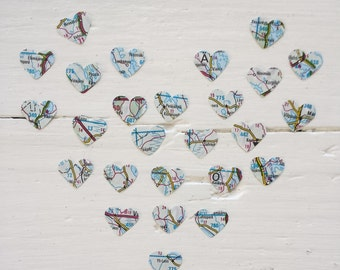 Confetti Hearts more than a 1000 from a map atlas from Europe