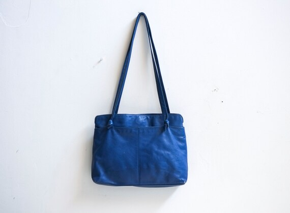 ... Blue Leather 1980's Double Strap Shoulder Bag Large Tote Purse