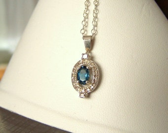 Womens Gemstone Pendant Artisan Altered Authentic Vintage Sterling Silver Genuine London Blue Topaz Necklace