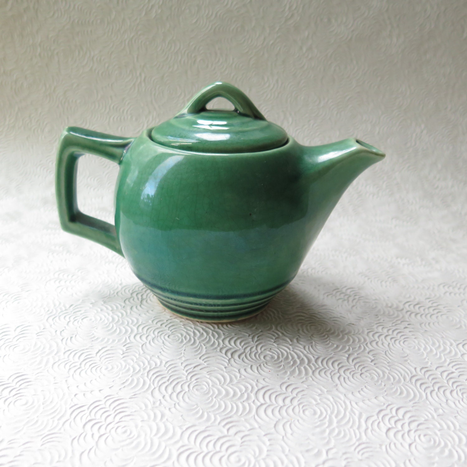 Mccoy Teapot Green Art Deco Pottery 1940s Signed Vintage