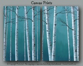 Birch tree painting - Canvas print set, Large wall art, Aspen, Teal home decor, Blue, Gray,Oversized,Master bedroom decor,Dining room,Office