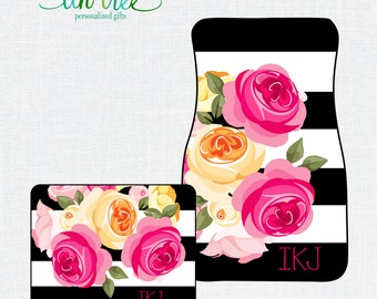 Personalized Car Floor Mats- Pink Floral - Custom Monogram car floor mats