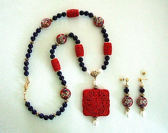 Gorgeous Exotic Chinese Jewelry Lapis Stone Necklace Exquisite Cloisonne Earrings Hand Crafted Cinnabar Elegant Gift for Her Christmas