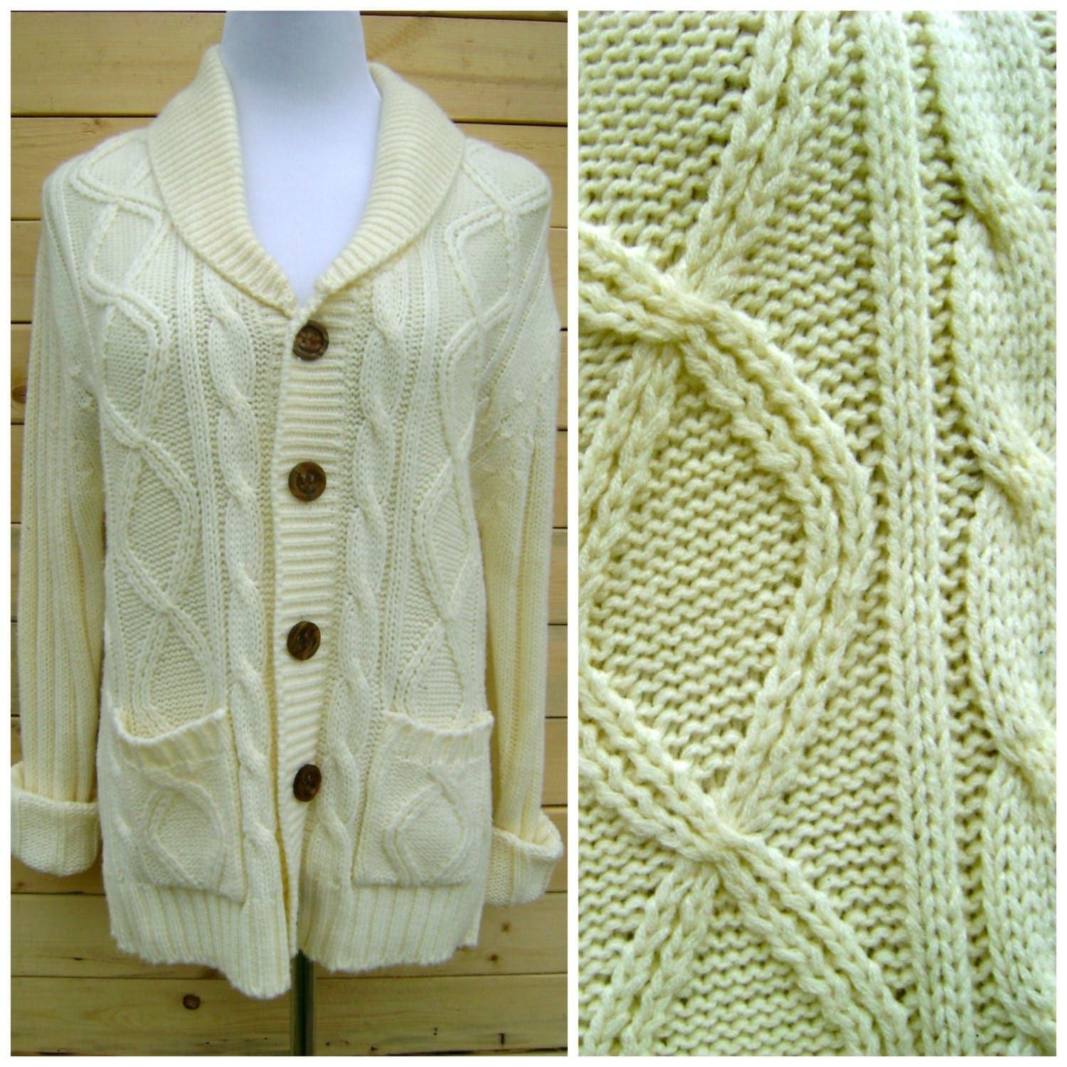 Fisherman Sweater Cardigan Vintage Button Down Chunky Knit Off
