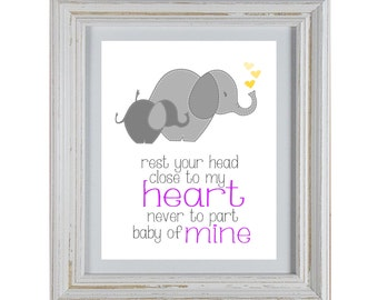 Nursery Art DIY Printable- Elephant Rest Your Head Close To My Heart Wall Art- Purple and Yellow