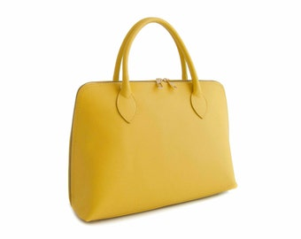 Handmade Tote Bag, Yellow Italian Leather Purse, Designer Leather Handbag -.- the Haupu  -.-  winter sale 30% off