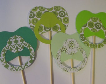 4 Pacifiers on a sticks, Baby shower photo props, New baby props, photo booth props-Ready to ship