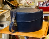 Quality Vintage Dark Blue Hat or Vanity Case, Blue silk lining with pockets, interesting clasp