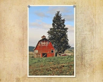 Landscape Photography | Old Barn | Red Barn Photo | Country | Oregon | Rural Oregon Photo | Classic Car Photo