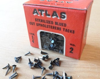 Tacks, Vintage Hardware, Tiny Nails, Blue Metal, Upholstery Tacks, Metal Findings, New In Box, Industrial, 1930s, 1940s, 1/8th Pound