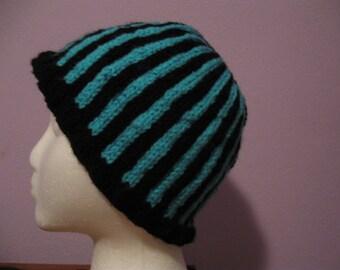 Blue and Black Striped Knit Hat pattern PDF File