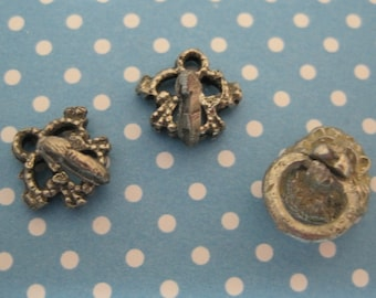 Vintage Doll House Miniature Metal Hooks and Lion Towel Holder Ring