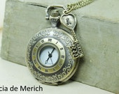 Custom initial Pocket watch necklace - Vintage style - Valentine's gift  - Initial watch- Wedding gift