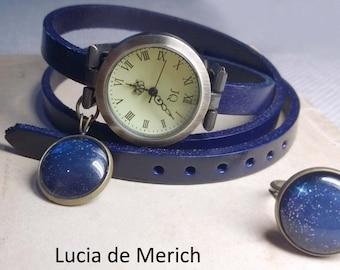 Starry Sky Wrap Watch -Galaxy  wrap watch bracelet-  genuine leather wrap watch, , with starry sky charm-Black friday-Cyber monday.