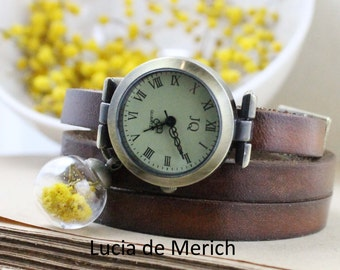 Real flower - Wrap Watch with Real flower -  genuine leather with real mimosa flowers in glass orb charm-- Coupon code.