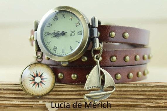 Old sailing ship watch -Vintage sail ship pendant -Nautical wedding -Nautical jewelry- Nautical  Wrist Watch  -Compass watch