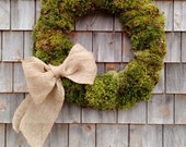 Large Moss Wreath With A Burlap Bow