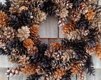 Rustic Maine Pinecone Wreath- Coffee and Caramel