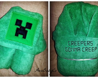 Embroidered Minecraft Creeper Inspired Hooded Towel Personalized