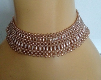 Beaded Faux Pink Pearl Collar Neckpiece / Beaded Neck Accessory / Wedding Accessory / Bridal Supplies