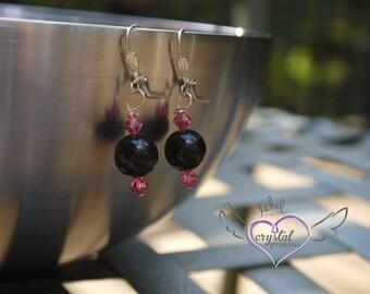 Pink and Black Swarovski Earrings