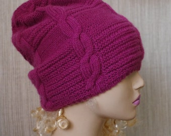 Pure Cashmere Dust Rose Cable Hand Knit Slouchy Thick Warm Beanie Hat