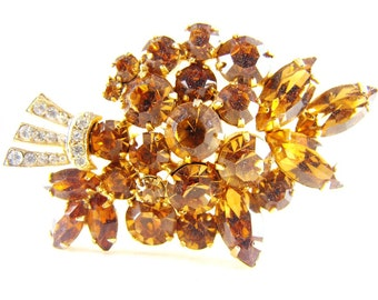 Rhinestone Brooch Golden Topaz Clears Floral Bouquet High End Vintage Jewelry Warm Honey Amber Tones