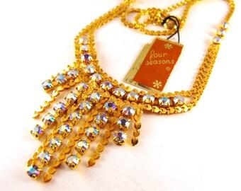 Rhinestone Necklace Golden Heart Links Aurora Borealis Crystal Fringe With Tags