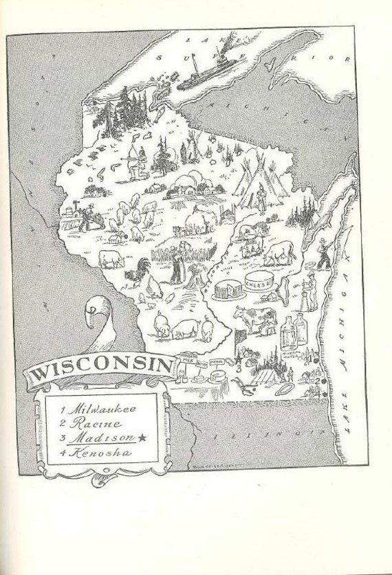 Wisconsin Map Art Antique Map Print Travel Decor by HildaLea – Wisconsin Travel Map