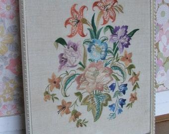 Lovely Vintage Framed Floral Embroidery