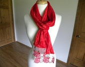 Red Crushed Velvet Scarf with Red Roses Lace, Mother's Day Gift, Valentine's Day