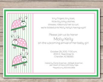 Girl Lady Bug Baby Shower Invitation